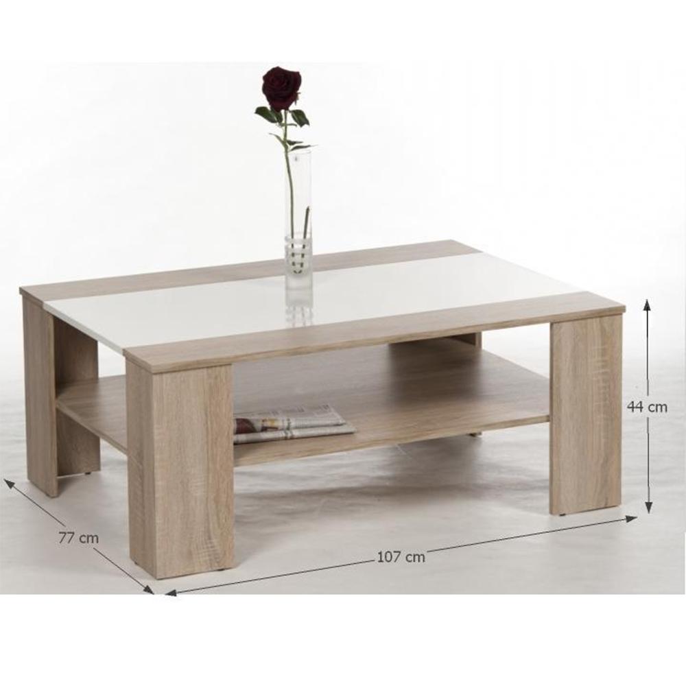 Dohányzóasztal,sonoma tölgyfa + fehér extra magas fényű HG, ARIADNA