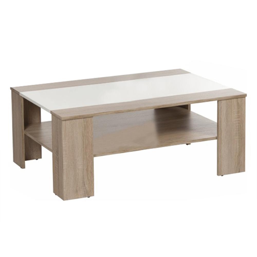 ARIADNA - Konferenční stolek, dub sonoma / bílá extra vysoký lesk HG, TEMPO KONDELA