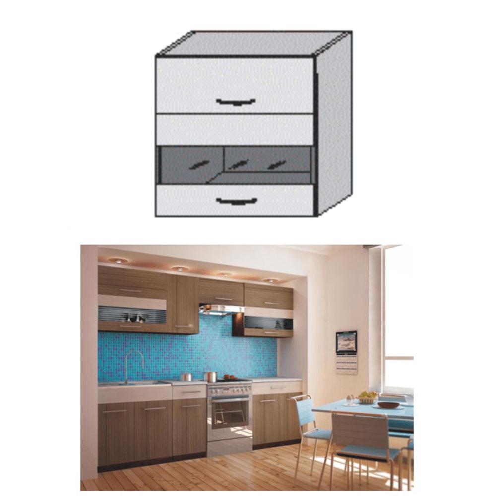 Dulap bucătărie, rigoleto dark+light/wenge sticlă, JURA NEW I OGW1-80