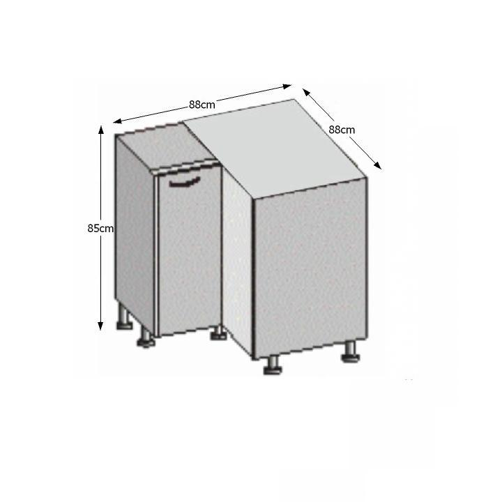 Spodní rohová skříňka, rigolletto light / rigolletto dark / wenge, JURA NEW IA DN-88 * 88