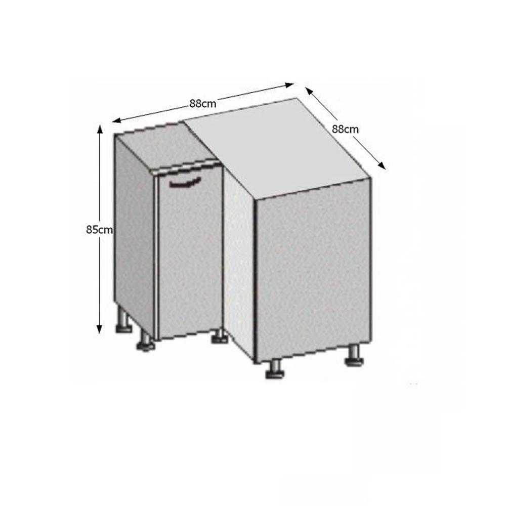 Spodní rohová skříňka, bílá / wenge, JURA NEW B  DN-88 * 88, TEMPO KONDELA