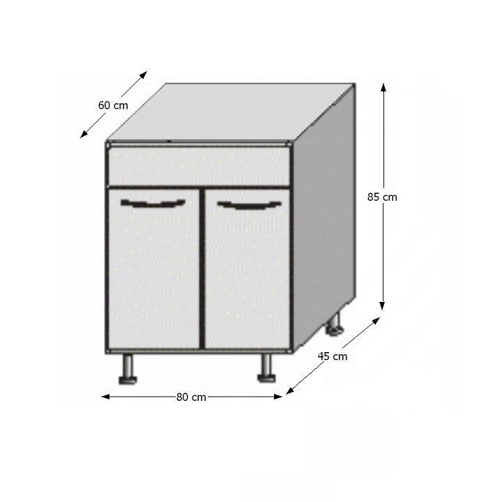 Alsó mosogatószekrény, fehér/venge, JURA NEW B DZ-80