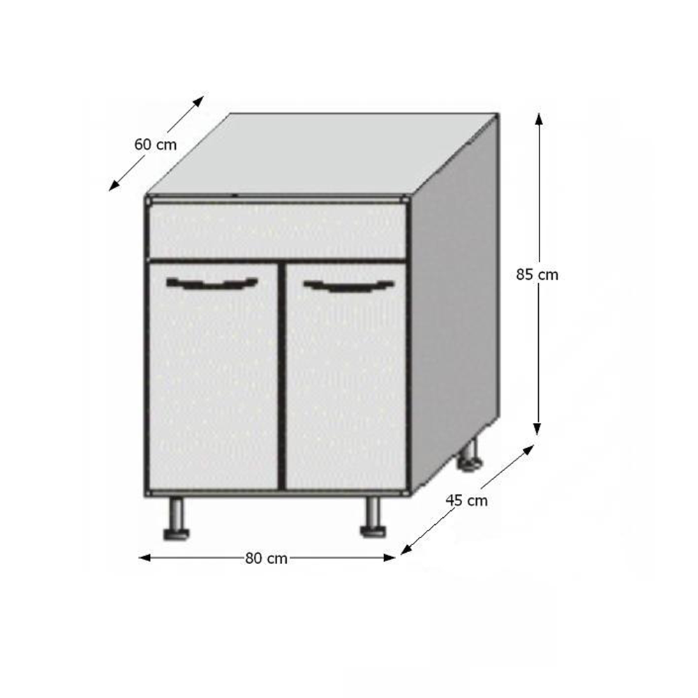 Spodní dřezová skříňka, bílá / wenge, JURA NEW B DZ-80, TEMPO KONDELA