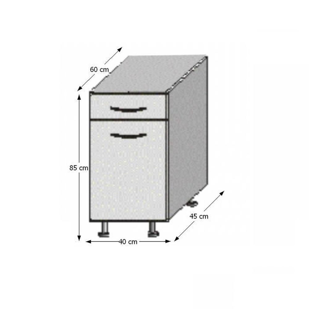 Spodní skříňka, bílá / wenge, JURA NEW B D-40 S1, TEMPO KONDELA