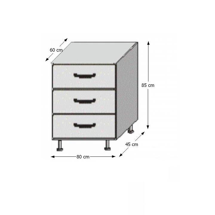 Spodní šuplíková skříňka, bílá / wenge, JURA NEW B D-80 S3
