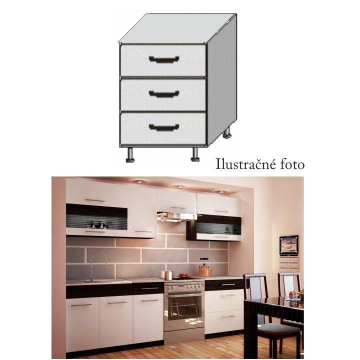 Alsó fiókos szekrény, fehér/venge, JURA NEW B D-80 S3