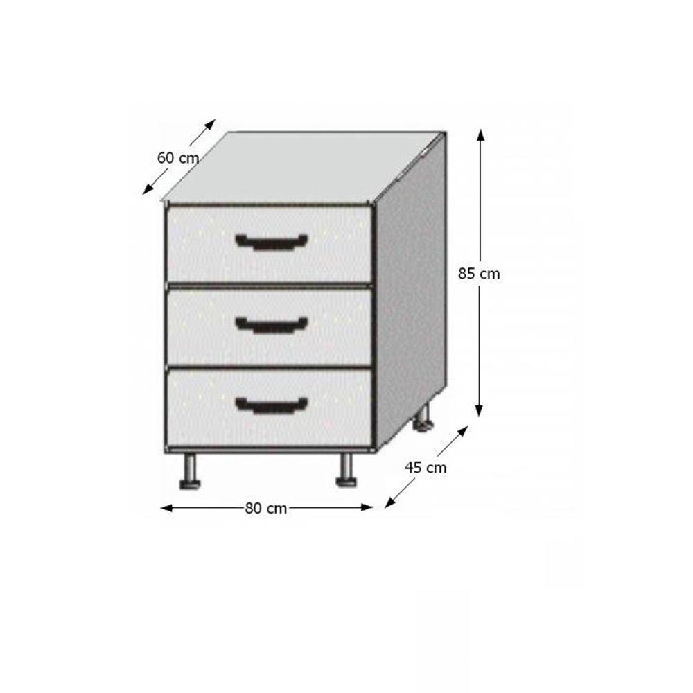 Spodní šuplíková skříňka, bílá / wenge, JURA NEW B D-80 S3, TEMPO KONDELA