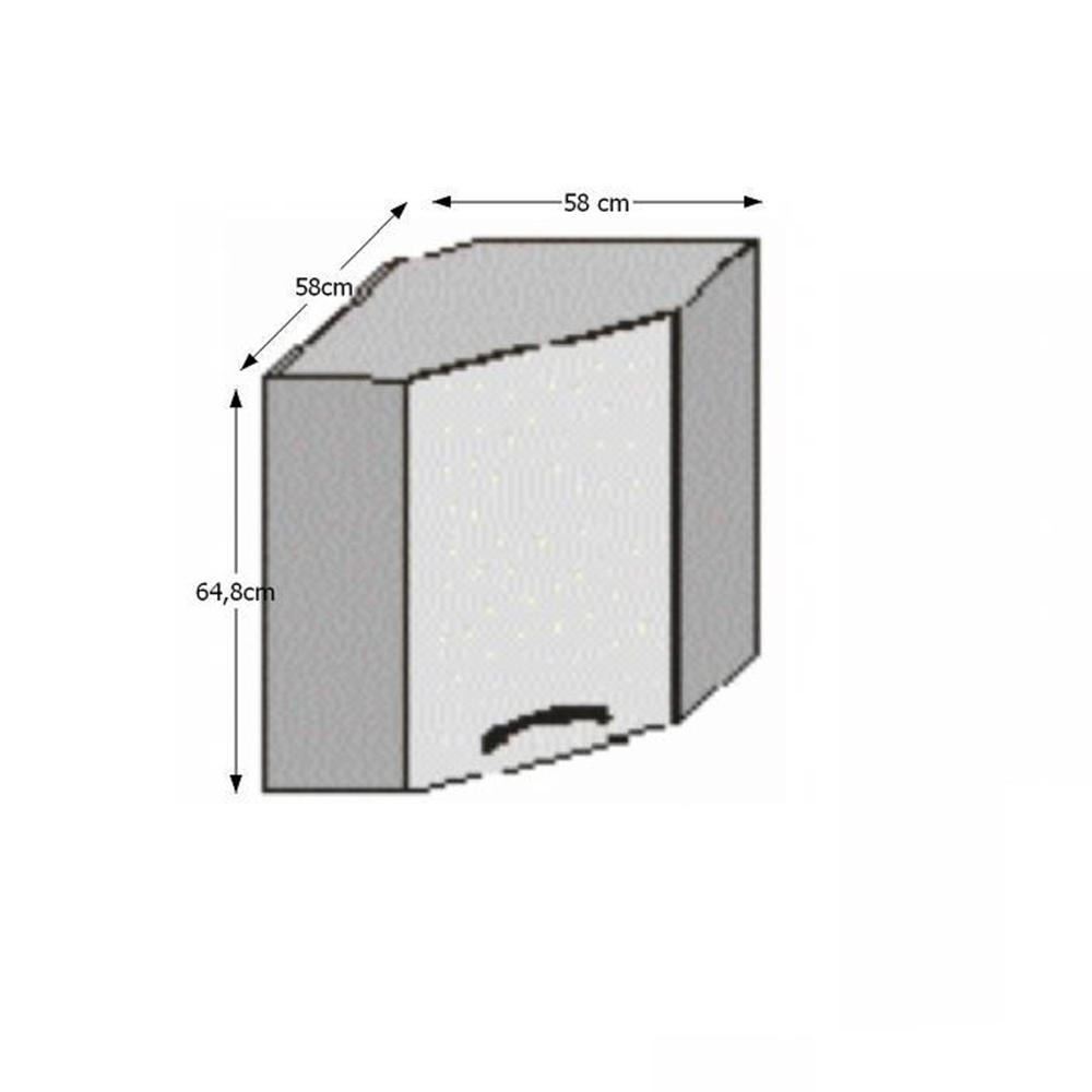 Horní rohová skříňka, bílá / wenge, JURA NEW B GN-58 * 58, TEMPO KONDELA