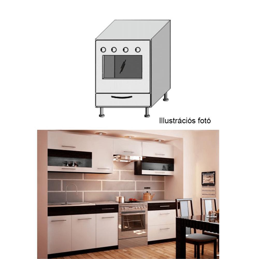 Tűzhely szekrény, fehér/venge, JURA NEW B ZK-60 K1