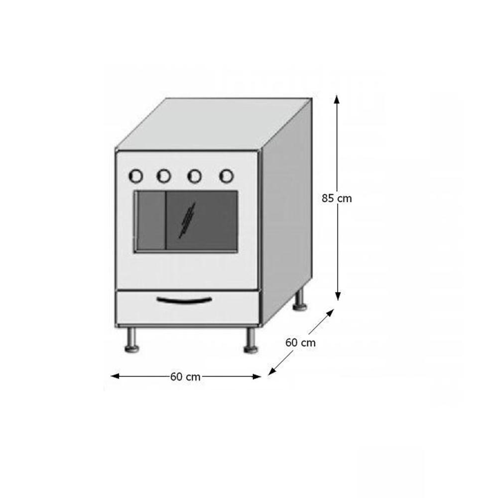 Spodní sporáková skříňka, bílá / wenge, JURA NEW B ZK-60 K1