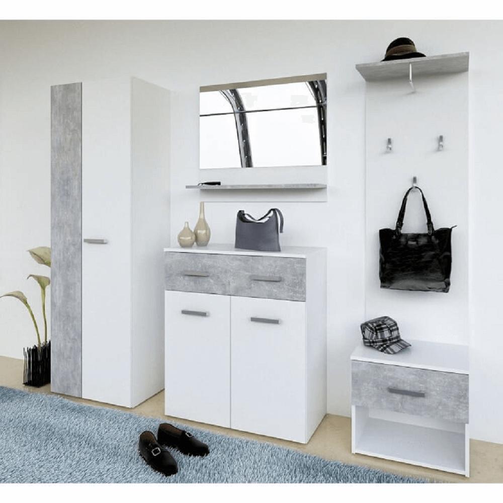 Předsíň, bílá / beton, SIMA