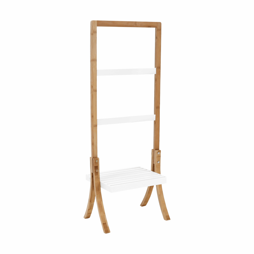 Stojan na uteráky, bambus/biela, TENS