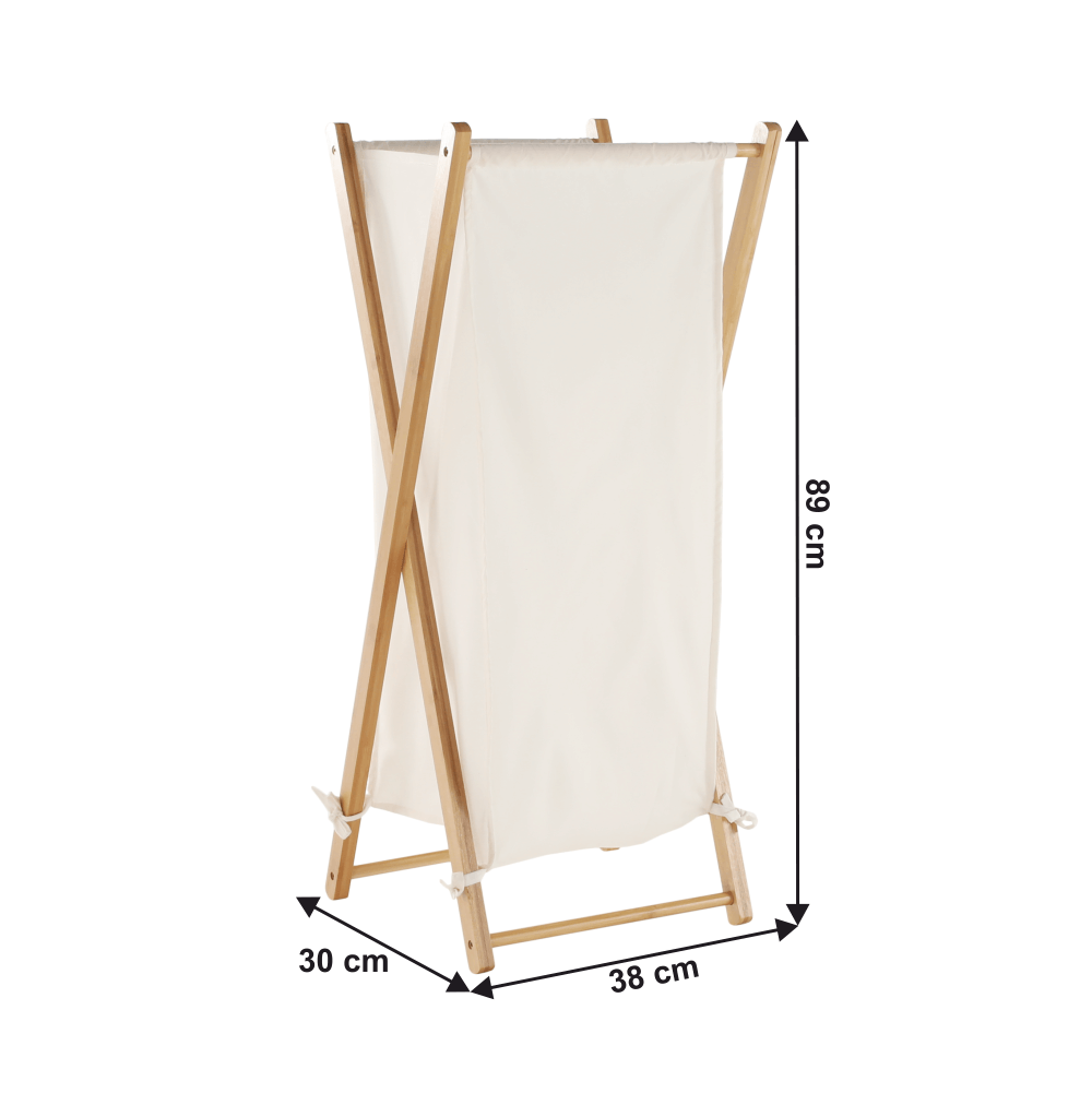Koš na prádlo, lakovaný bambus/bílá, AVELINO