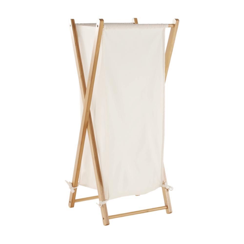 Szennyestartó kosár, festett bambusz/fehér, AVELINO