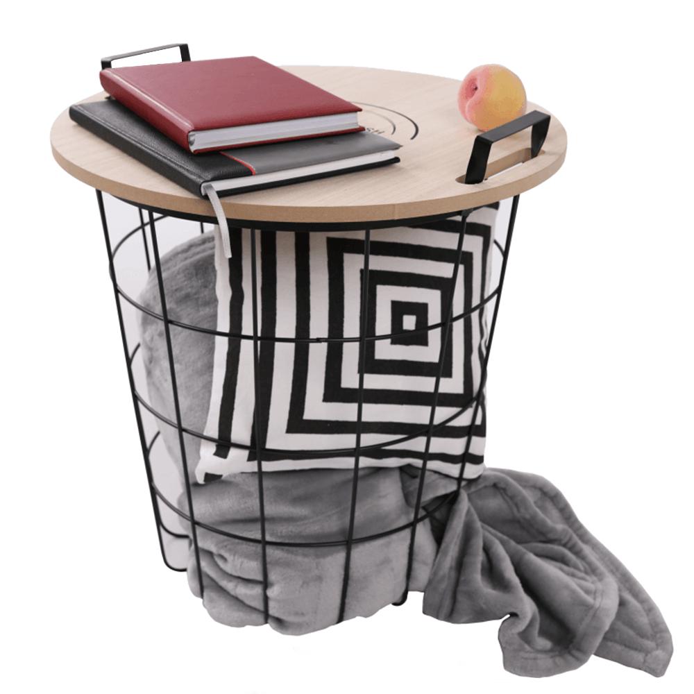 Příruční stolek, přírodní vzor/černá, NANDO, TEMPO KONDELA