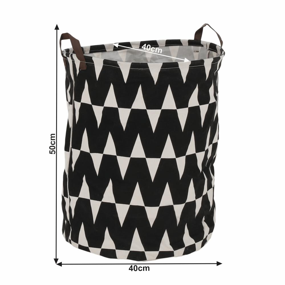 Koš na prádlo, černý / vzor bílá, PLEJO TYP 1
