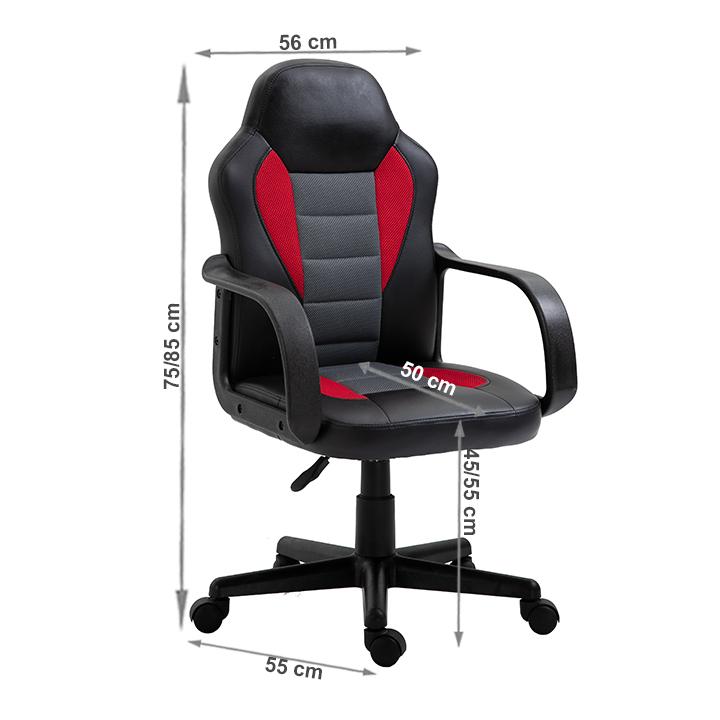 TEMPO KONDELA Kancelárske kreslo, ekokoža čierna/červená, MALIK - Tempo nábytek