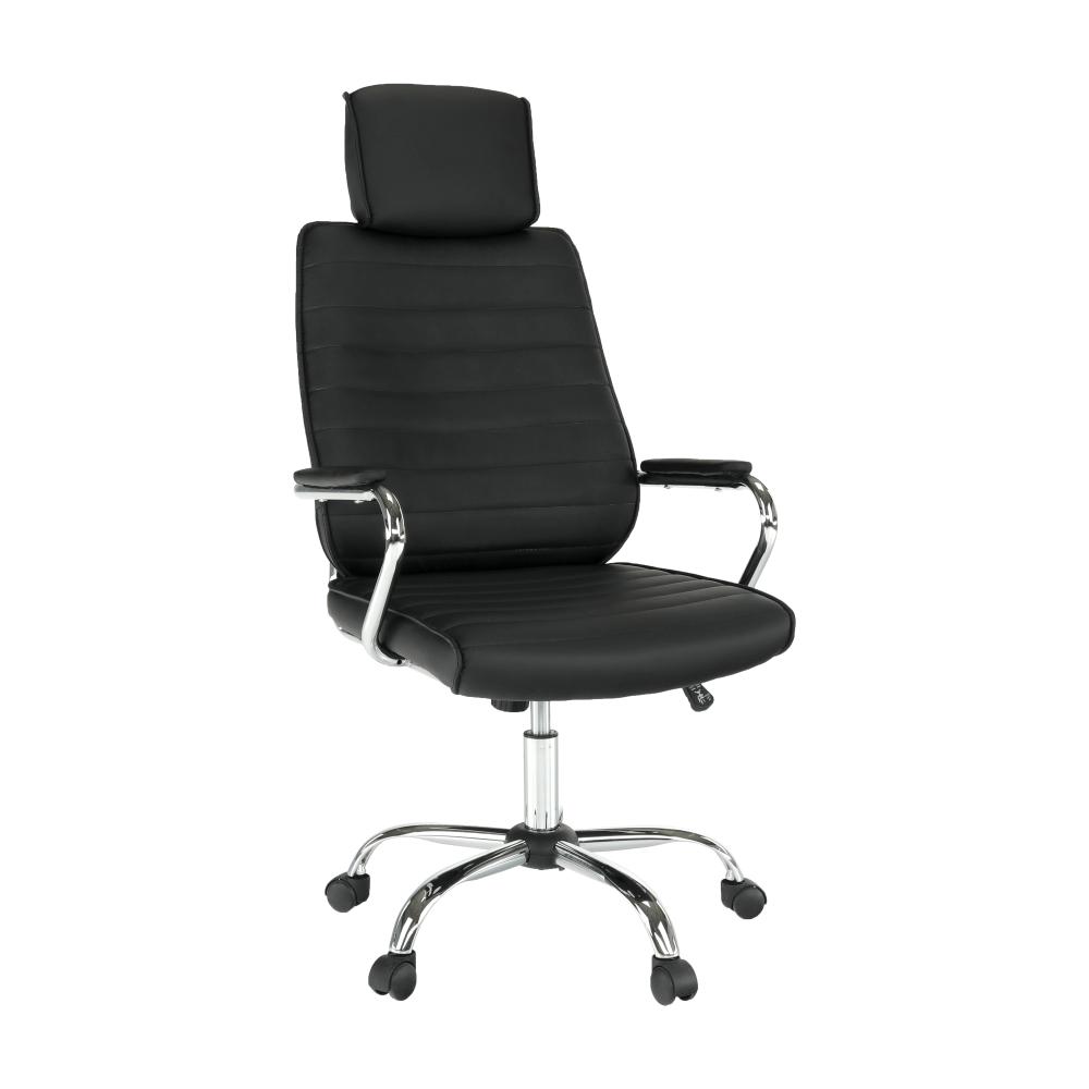 Kancelárske kreslo, čierna ekokoža, IZIDOR NEW