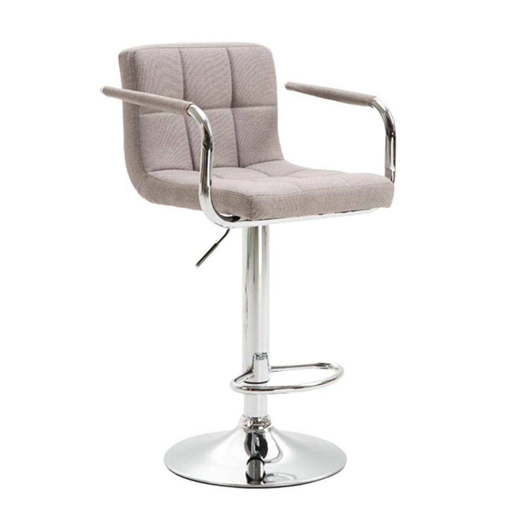 Barová stolička, sivohnedá taupe látka/chróm, LEORA 2 NEW