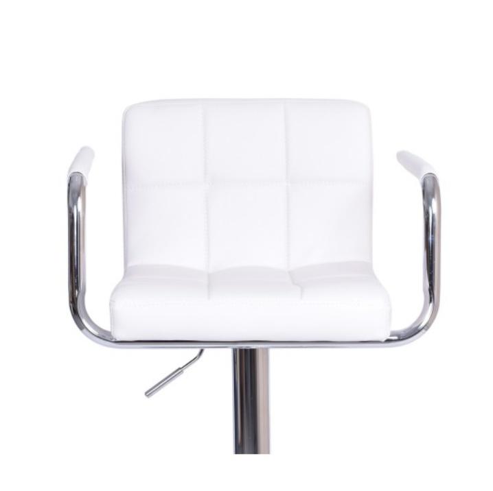 Barová židle, bílá ekokůže/chrom, LEORA 2 NEW