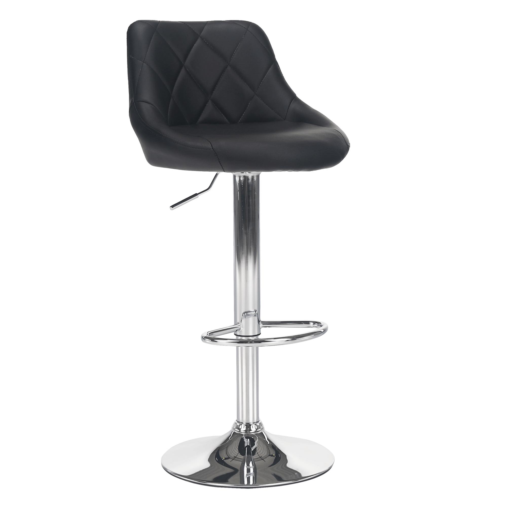 Barová stolička, čierna ekokoža/chrómová, MARID