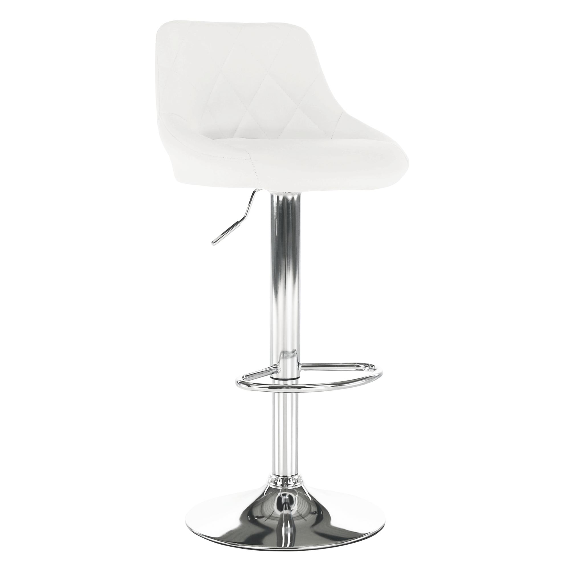Barová stolička, biela ekokoža/chrómová, MARID