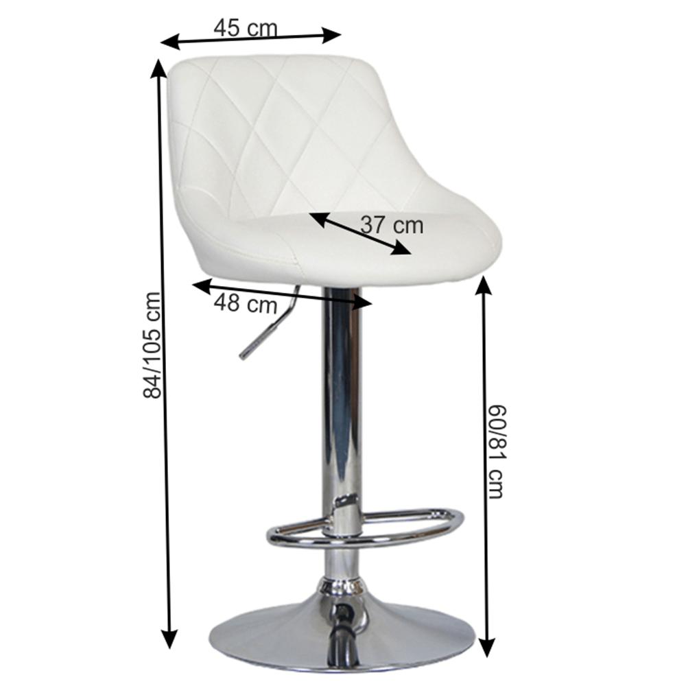 Barová židle, bílá ekokůže/chromová, MARID