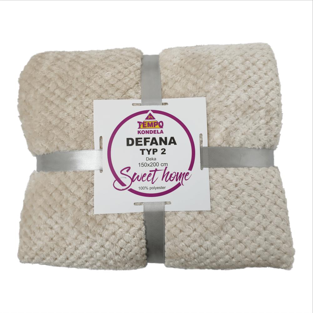 Obojstranná deka, béžovosivá, 150x200, DEFANA TYP 2