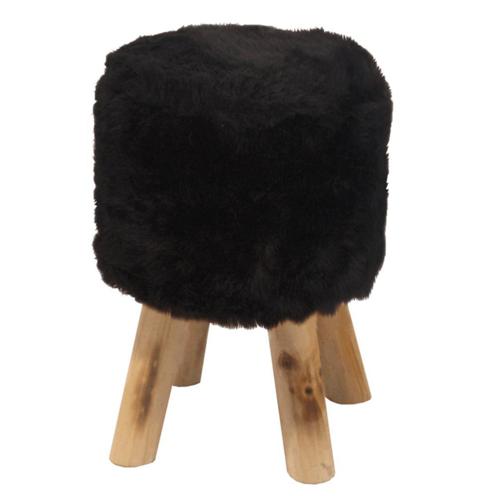 Taburet, čierna kožušina/borovica, ALPIA