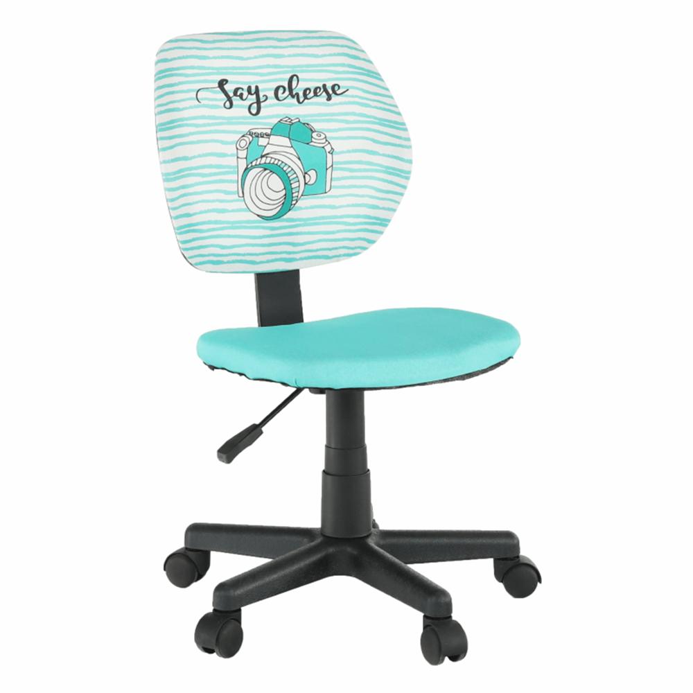 Otočná židle, látka vzor / mentolová, BLUES, TEMPO KONDELA