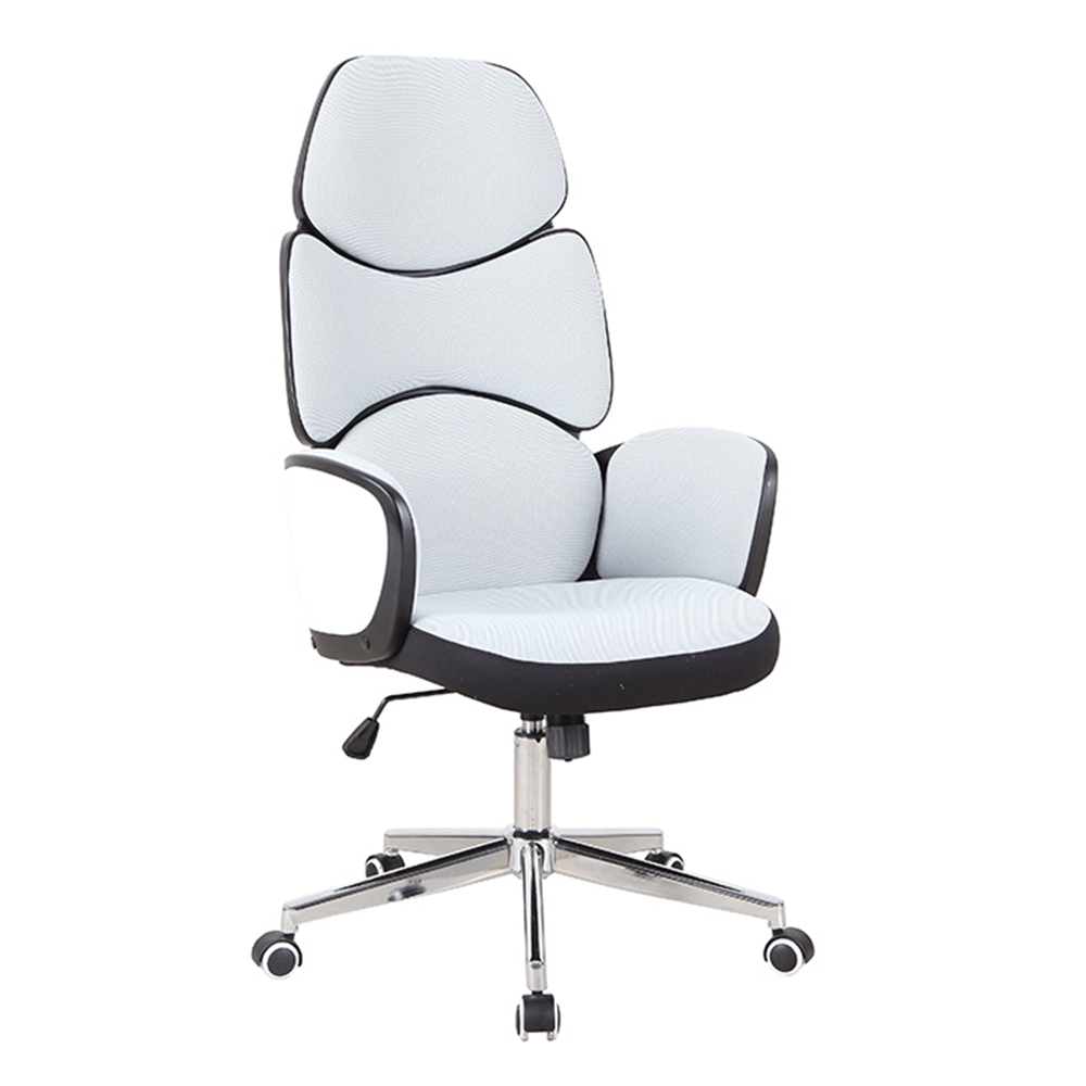 Scaun de birou, material textil alb / plastic negru, DELIZ