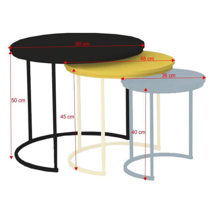 TEMPO KONDELA Set troch príručných stolíkov, sivá/žltá/čierna, RONEL NEW - Tempo nábytek