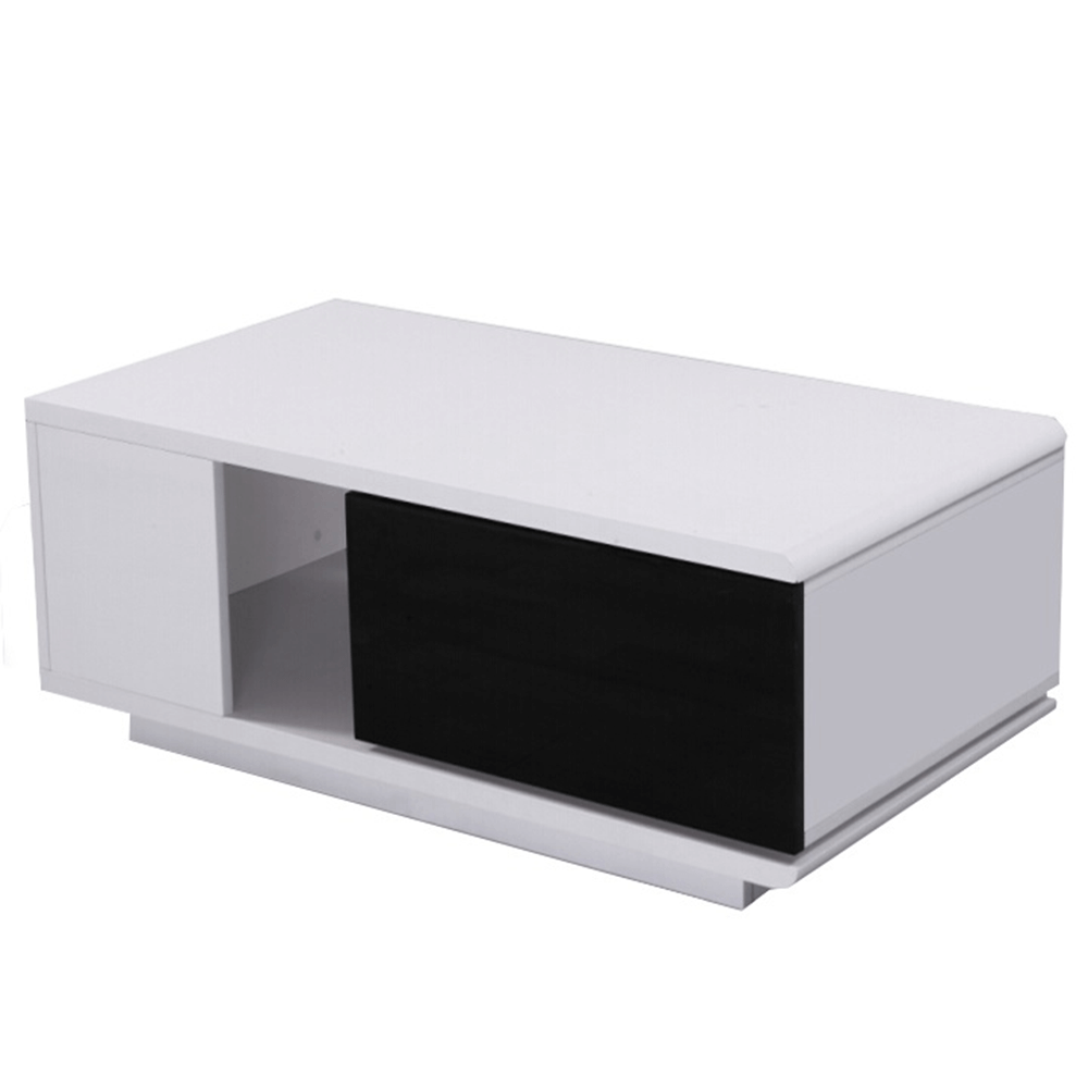 Konferenčný stolík, biela/čierna extra vysoký lesk, DEMBA, poškodený tovar