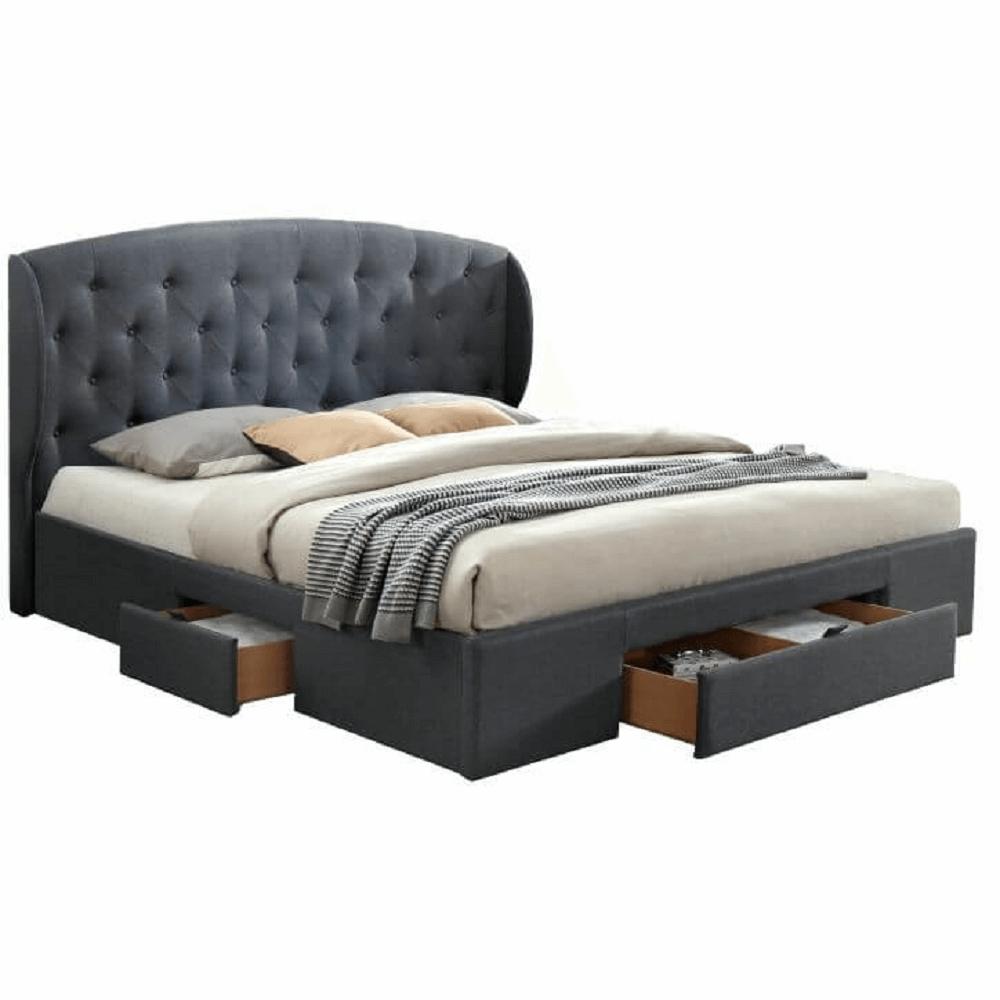 Manželská posteľ, látka sivá, 160x200, OLINA NEW