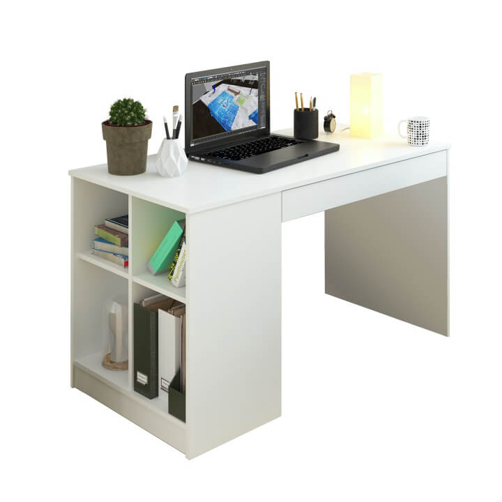 PC stôl, biela, VENDI