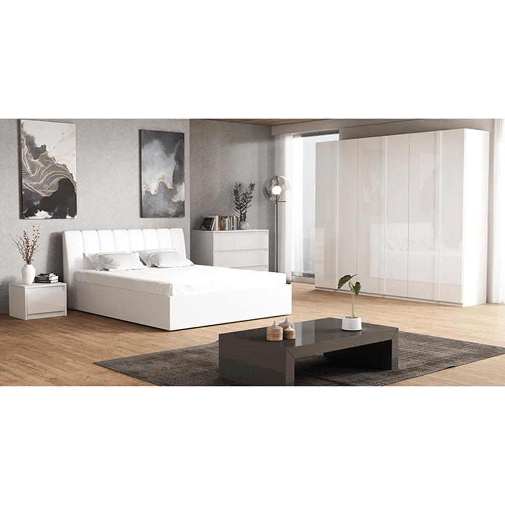 Spálňový komplet, biela/extra vysoký lesk HG, ITALIA NEW