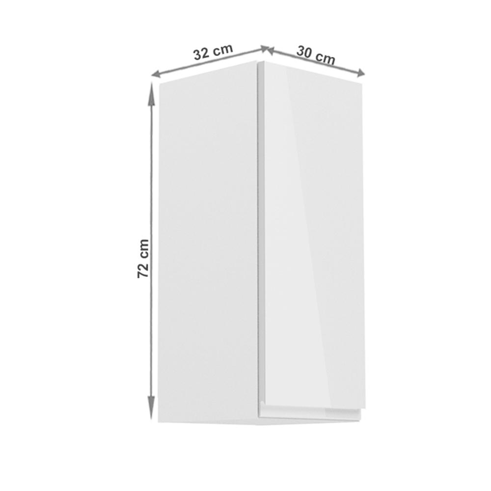 Horní skříňka, bílá / bílý extra vysoký lesk, pravá, AURORA G30