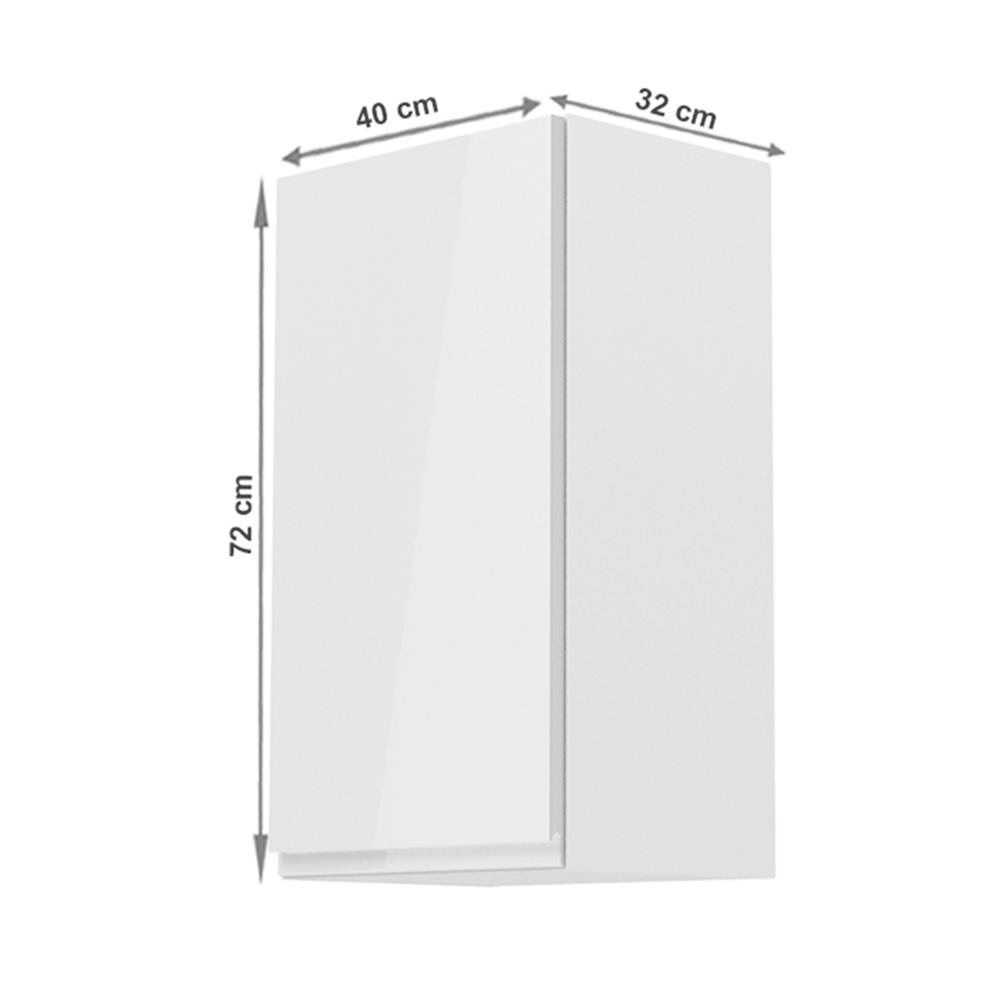 Horní skříňka, bílá / bílý extra vysoký lesk, levá, AURORA G40