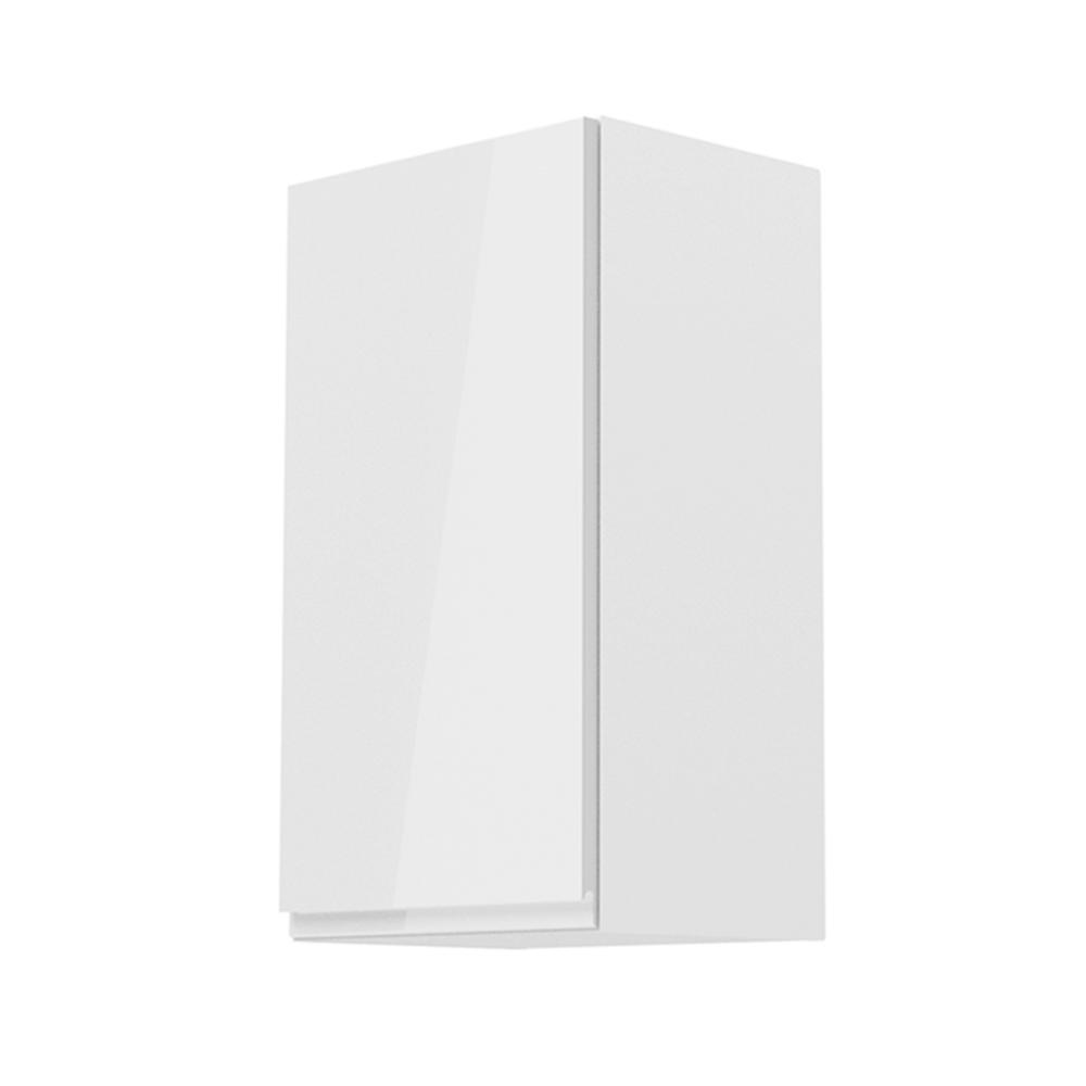 Horní skříňka, bílá / bílý extra vysoký lesk, levá, AURORA G40, TEMPO KONDELA