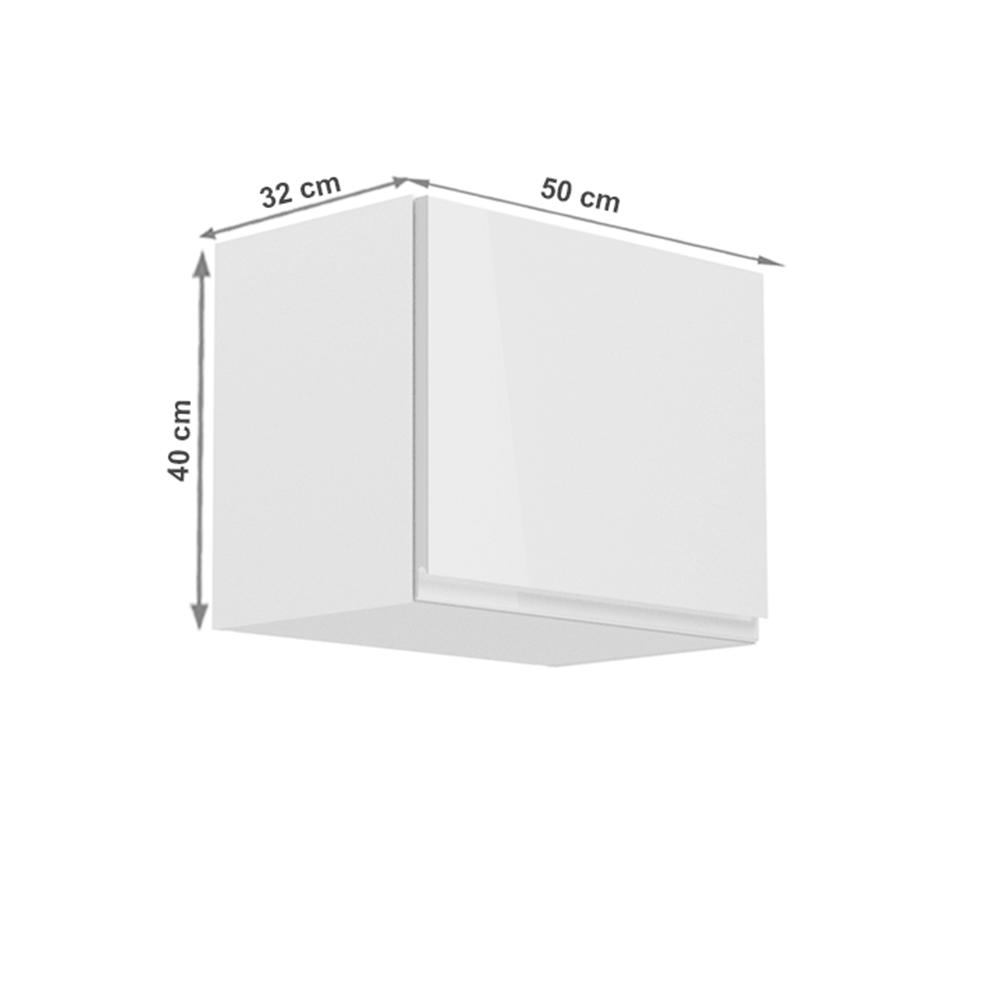 Horní skříňka, bílá / bílý extra vysoký lesk, AURORA G50K