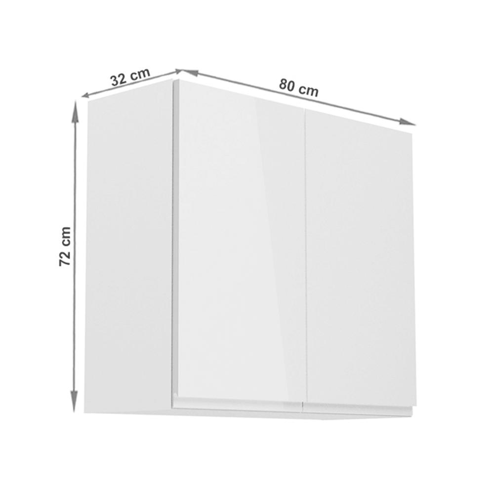 Horní skříňka, bílá / bílý extra vysoký lesk, AURORA G80