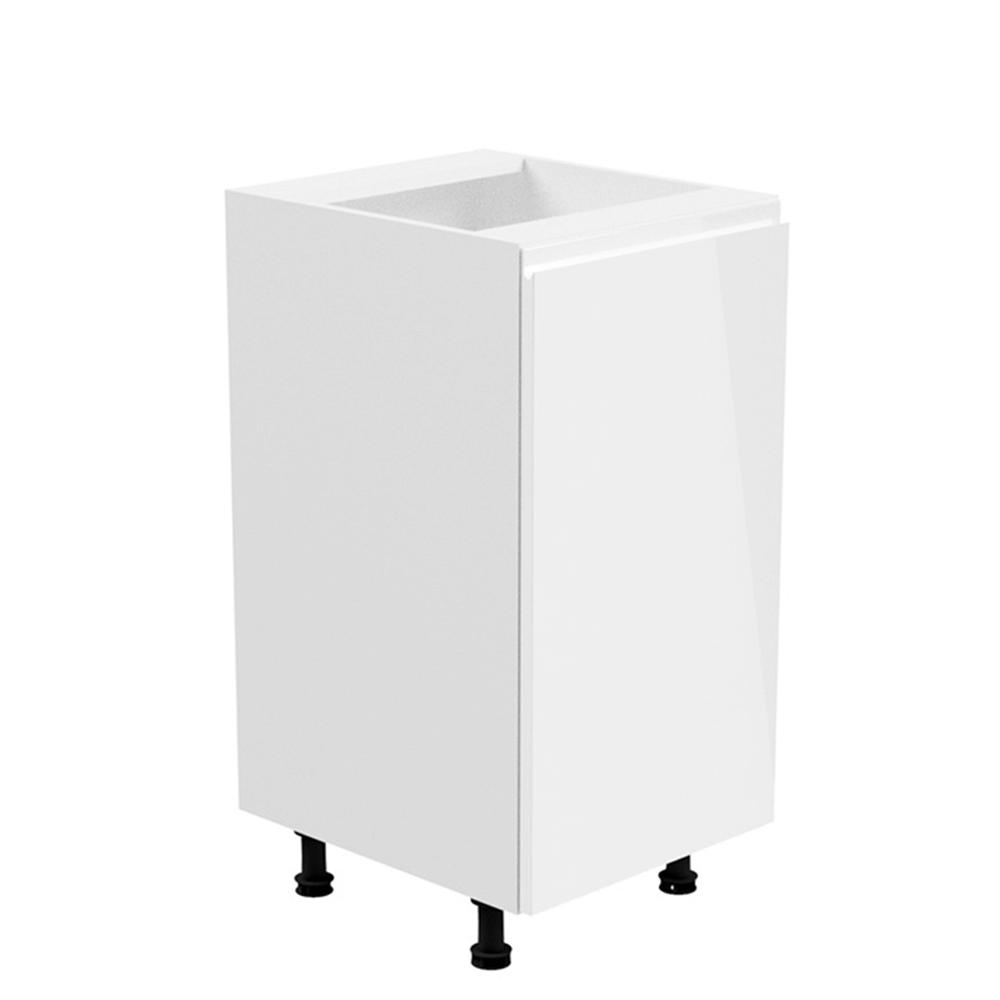 Spodná skrinka, biela/biela extra vysoký lesk, pravá, AURORA D40