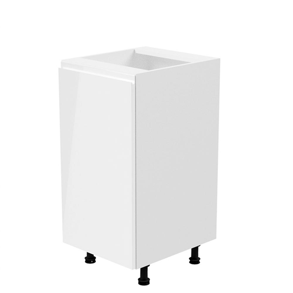 Spodná skrinka, biela/biela extra vysoký lesk, ľavá, AURORA D40