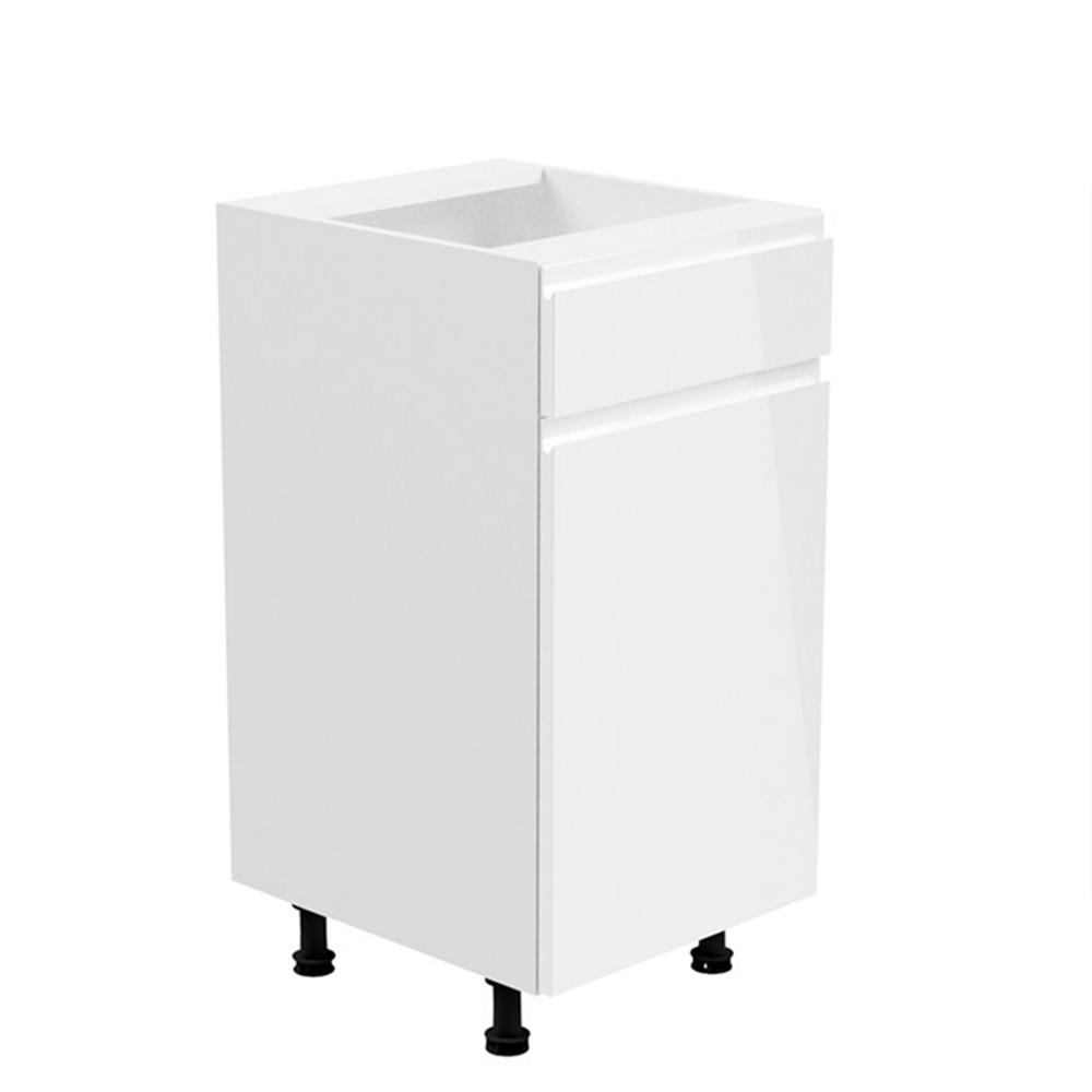 Spodní skříňka, bílá / bílá extra vysoký lesk, pravá, AURORA D40S1