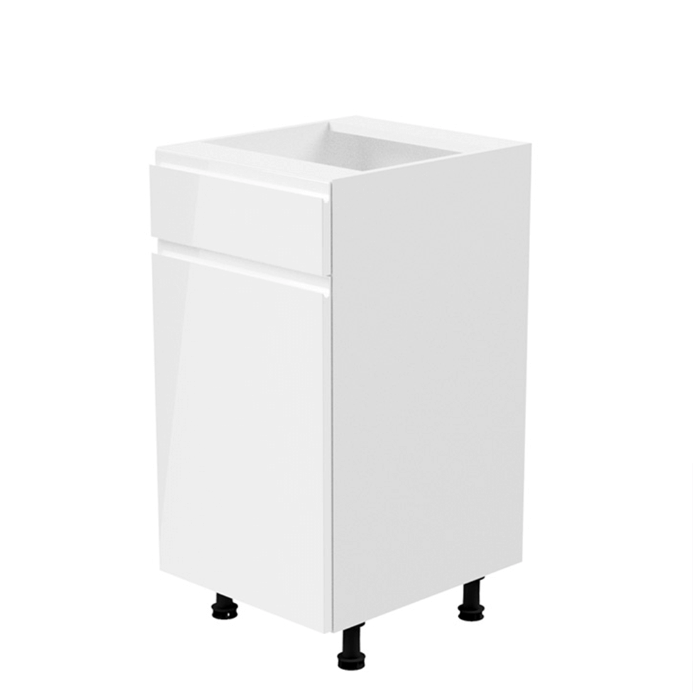 Spodní skříňka, bílá / bílá extra vysoký lesk, levá, AURORA D40S1