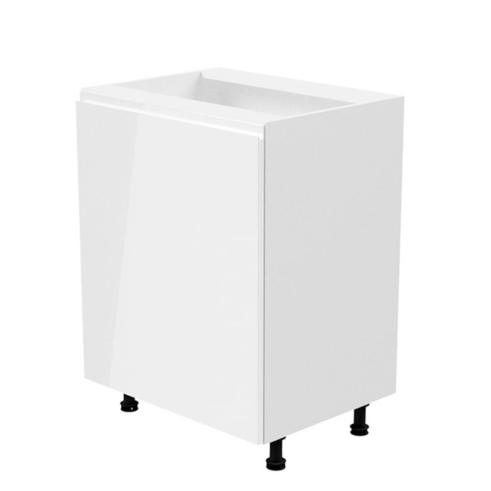 Alsószekrény, fehér/fehér extra magasfényű, balos, AURORA D601F