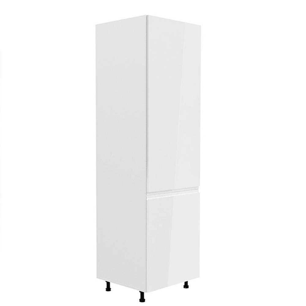 Skříňka na lednici, bílá / bílá extra vysoký lesk, pravá, AURORA D60ZL