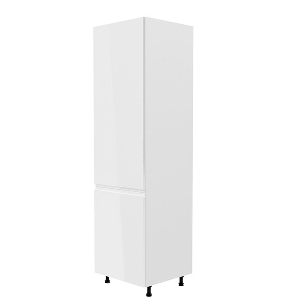 Skříňka na lednici, bílá / bílá extra vysoký lesk, levá, AURORA D60ZL
