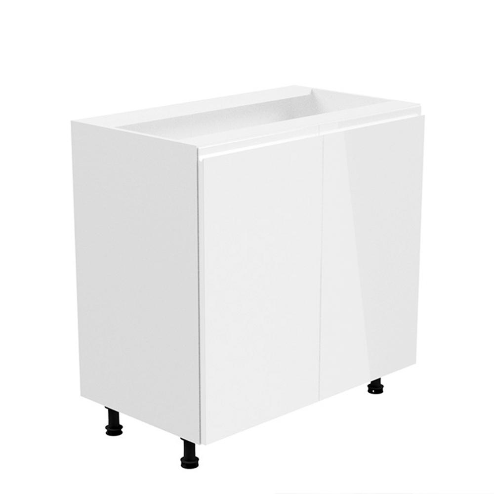 Alsószekrény, fehér/fehér extra magasfényű, AURORA D80