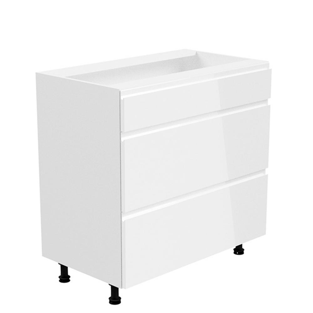 Spodní skříňka, bílá / bílá extra vysoký lesk, AURORA D80S3